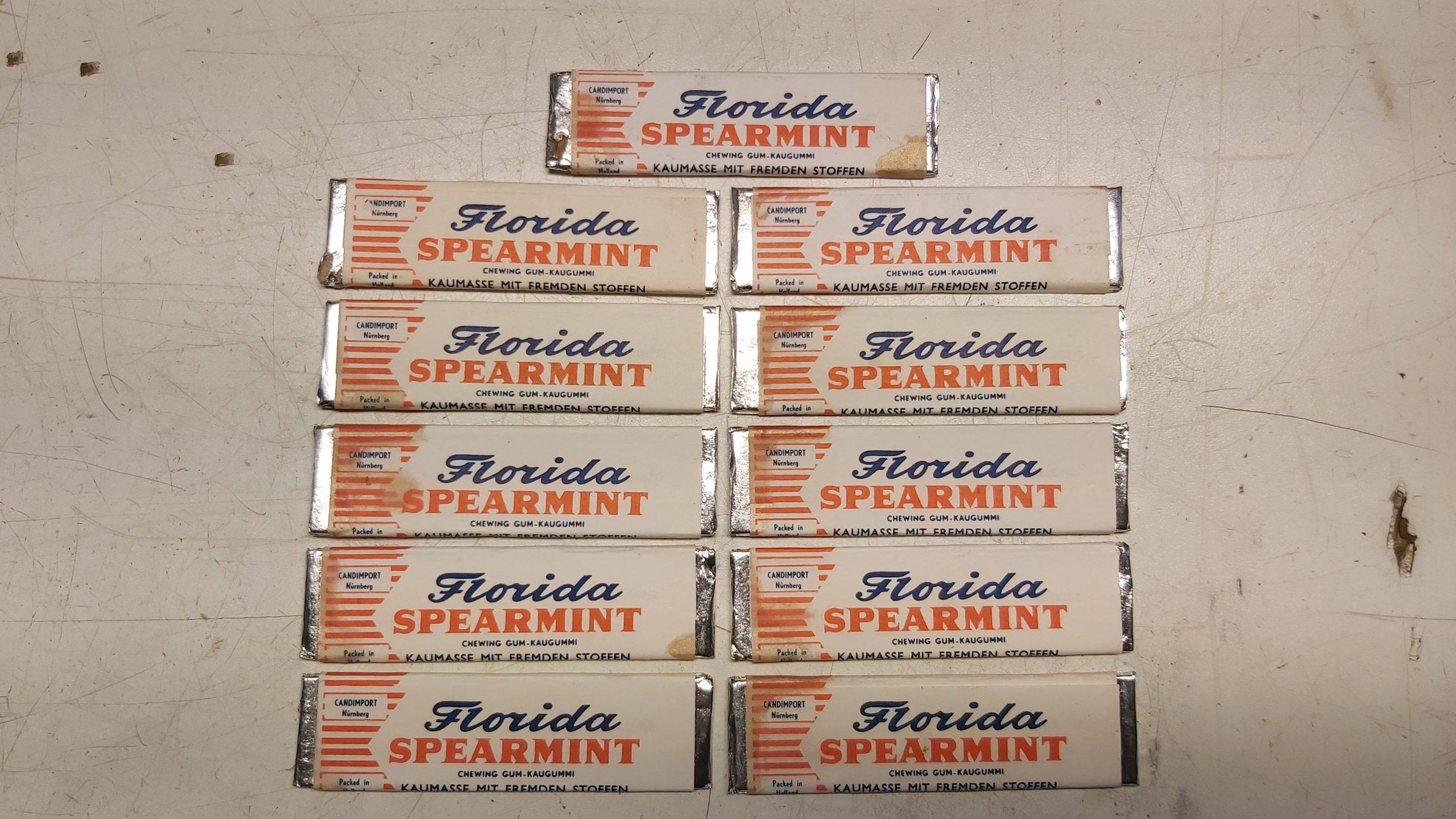 11 Stück alte Florida Gum Spearmint Kaugummis für Automat