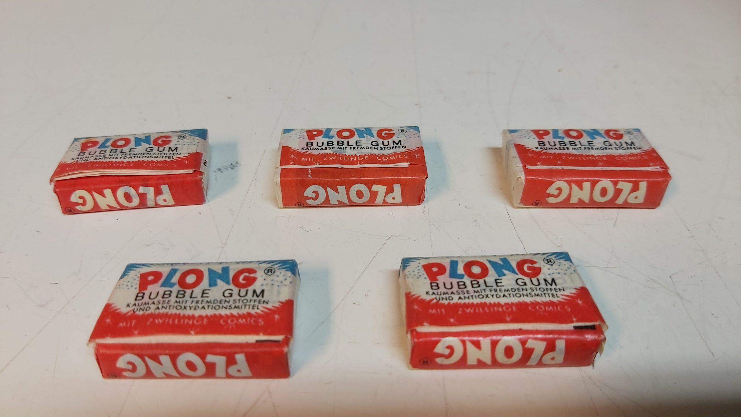 5 Stück alte Plong Gum Kaugummis für Warenautomat